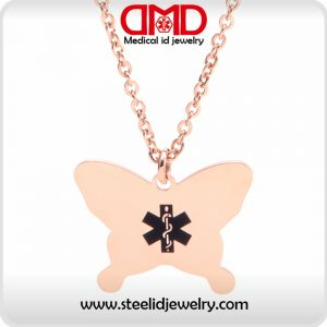 Medical id charm heart alert charm rose gold alert charm octagonal honeycomb medical id pendant for women and men sp0179rg mozeypictures